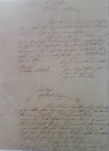 وثيقة رسالة النقيب روبرت تايلور الى المقيم البريطاني في القرين عام 1822م