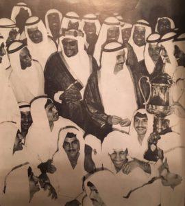 النادي العربي مع الأمير الراحل الشيخ صباح السالم و الشيخ عبدالله الجابر- كأس الأمير 1963