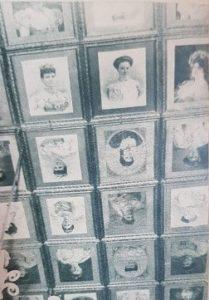 جانب من سقف احدى قاعات قصر السيف مزين بصور ملكات اوربة