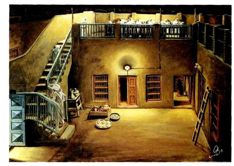لوحة توضح الحوش والليوان في البيت الكويتي القديم (أ .ح ))
