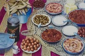 لوحة مكونات السفرة الكويتية والطبحات الشعبية قديما