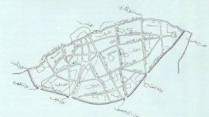 خريطة السور والبوابات والأحياء القديمة وشوارعها