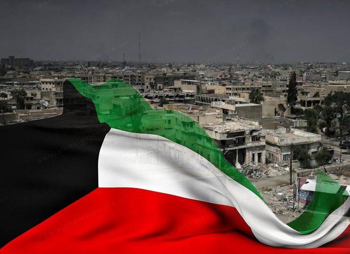 مدينة الكويت وضواحيها يغشوها ظلام دخان آبار النفظ اشعلتها قوات اإحتلال العراقي إثر انسحابها في حرب التحرير عام 1990 م