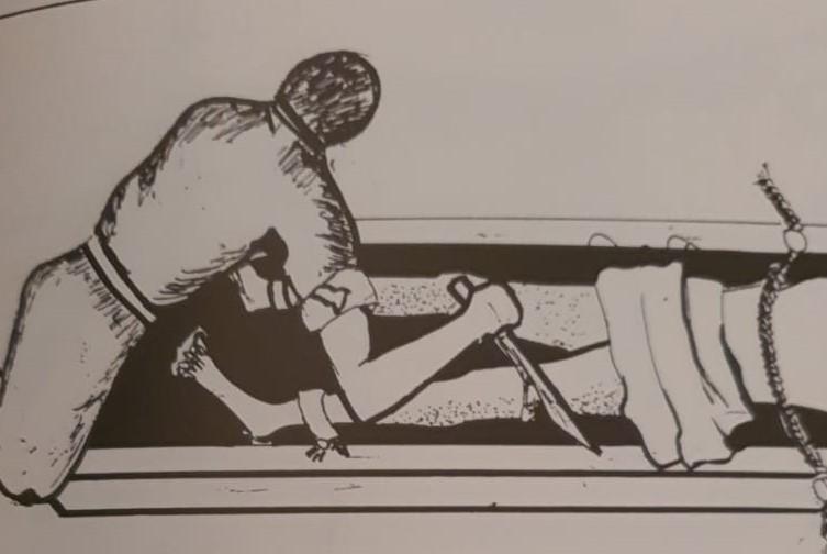 رسم يصور تقطيع لحوم المقاومة الكويتية من قبل قوات الاحتلال العراقي