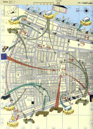 منطقة سلوى حيث توضح الرسوم مواقع انتشار الجيش العراقي في المنطقة السكنية الكويتية