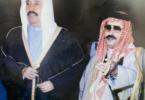 الأديب سعود غانم الجمران - يرحمه الله - برفقة الشيخ سالم العلي الصباح في شماله